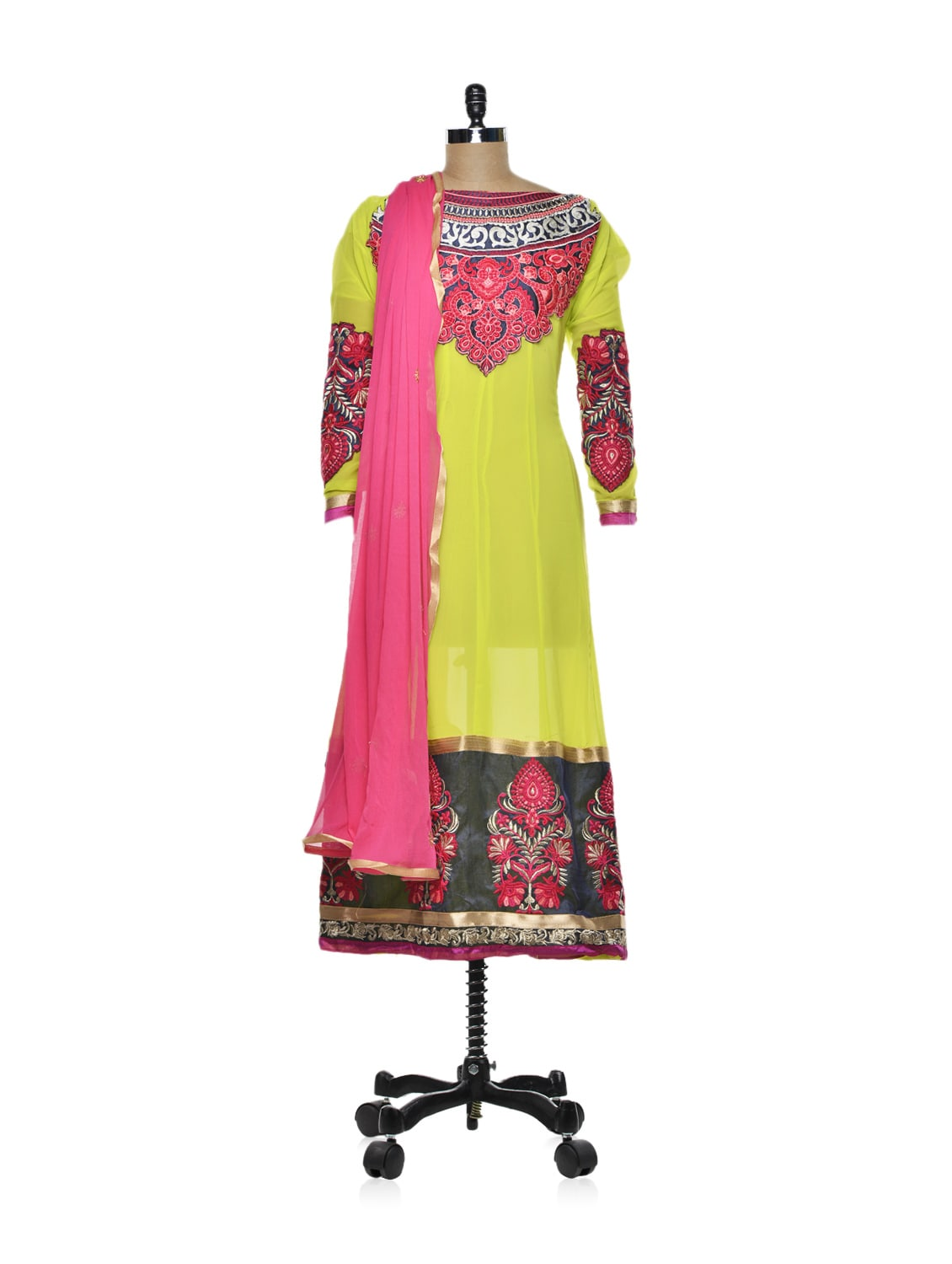 Trendy Lime Green Kalidar Kurti - Purple Oyster