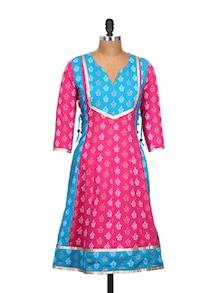 Pink And Blue Printed Kurta - Kwardrobe