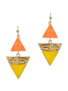 Orange Yellow Triangle Gemstone Drop Earrings - Fayon