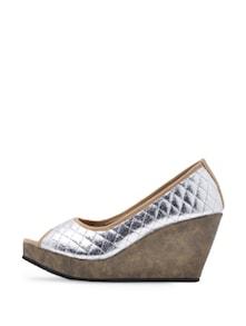 Stylish Silver Peep Toe Wedges - Soft & Sleek