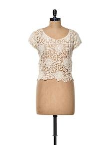 White Floral Crochet Crop Top - TREND SHOP