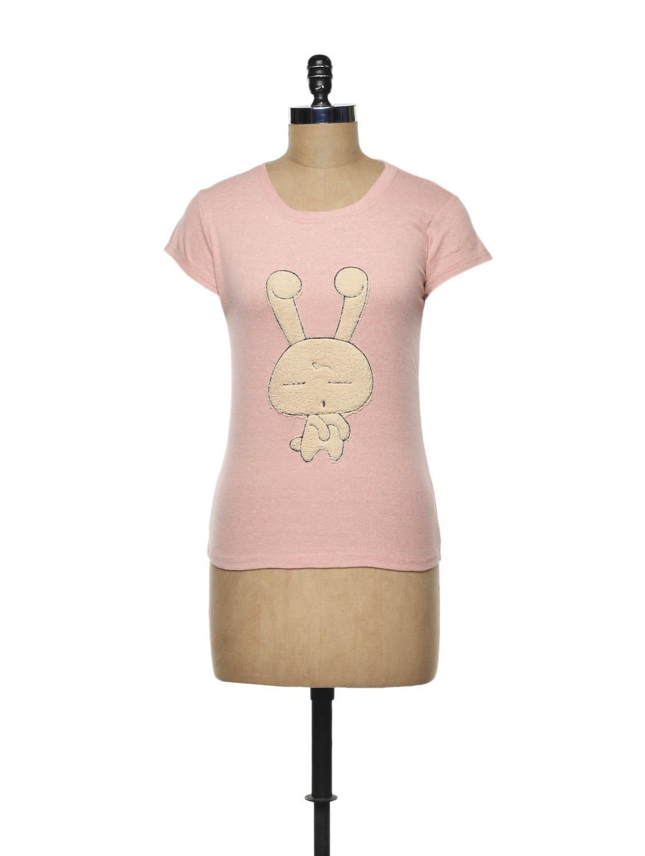 Rabbit Love Pink Cotton Knit T-shirt - TREND SHOP