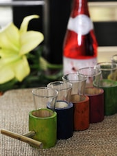 Set Of 6 Vodka Shot Glasses With Bright Bamboo Holders - ExclusiveLane