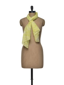 Yellow Leaf Print Cotton Scarf - Femella