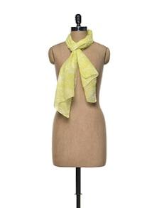 Yellow Leaf Print Cotton Scarf - Femella