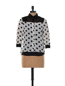 White And Black Polka-Dot Top - Deal Jeans
