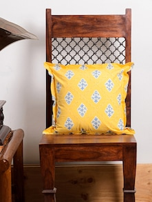 Yellow Leaf Print Cushion Cover Set - Ocean Collections
