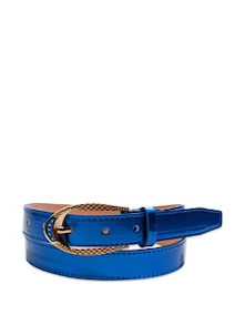 Arresting Blue Patent Leather Waist Belt - Belts By Just Women