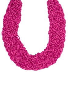 Fuchsia Woven Seed Beads Statement Necklace - Toniq