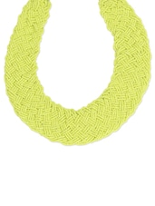 Limegreen Woven Seed Beads Statement Necklace - Toniq