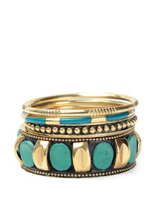 Turquoise-gold Metallic Bangle Set - Toniq
