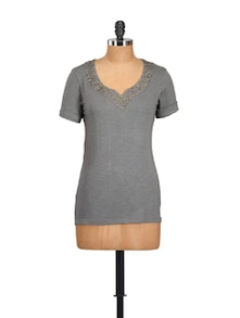 Sequinned Grey Cotton Knit Top - Myaddiction