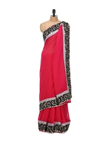 Solid Red Chiffon Saree With Zari Border - Libas