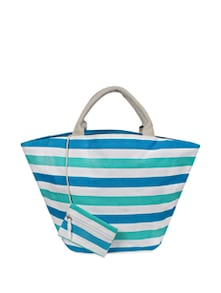 Striped Canvas Handbag - YOLO - You Only Live Once