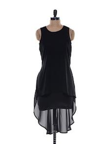 Black Blend Knit High-low Dress - Jiiah