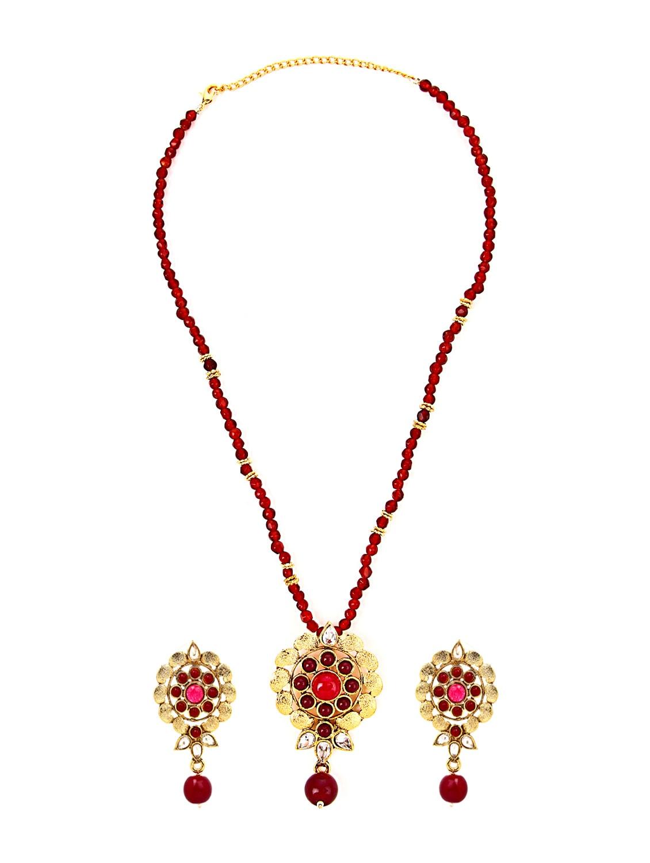 Red And Golden Pendant Set - KSHITIJ