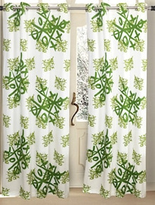 Green Tic-Tac-Toe Print Curtains - HOUSE THIS