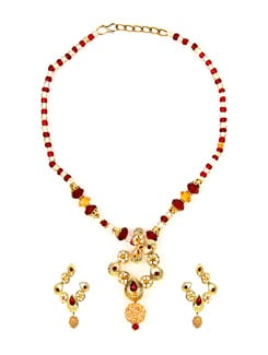 Kshitij Designer Red & Golden Necklace Set - KSHITIJ