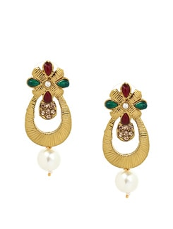Red And Green Handcrafted Earrings - KSHITIJ