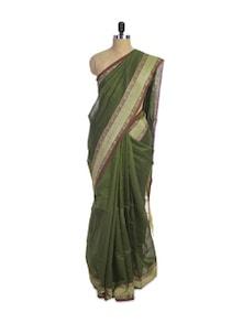 Mehndi Green Cotton Silk Saree - Spatika Sarees
