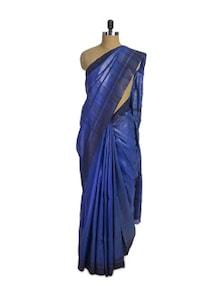 Blue Tussar Silk Saree - Spatika Sarees