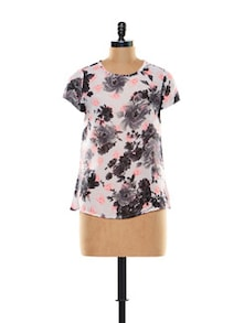 Skull-floral Print Polyester Top - Thegudlook