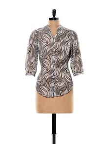 Monochrome Animal Print Sheer Shirt - Thegudlook