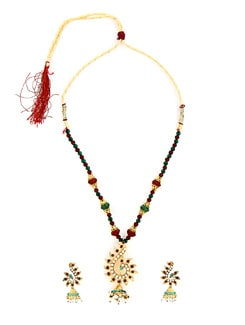Red And Green Necklace Set - KSHITIJ