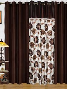 Brown Floral Print Door Curtains - Dekor World