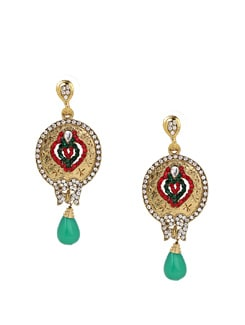 Red And Green Oval Dangle - KSHITIJ