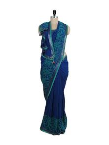 Stunning Blue Chikankari Saree - Ada