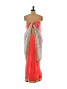 Coral And Grey Saree - Get Style At Home