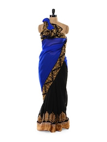 Stunning Black And Blue Saree - Get Style At Home