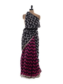 Glossy Chevron Print Saree - Purple Oyster