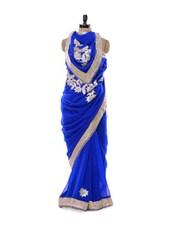Zari Adorned Royal Blue Chiffon Saree - By