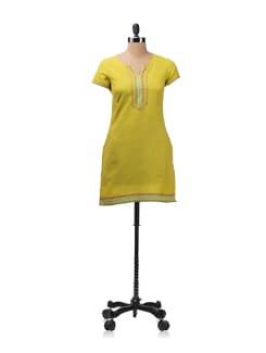 Lime Yellow-Green Woven Kurta - Aurelia
