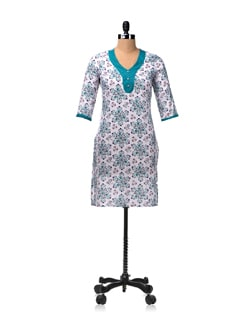 Green And White Printed Kurta - Aurelia