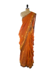 Orange Chikan Cotton Silk Saree - Spatika Sarees