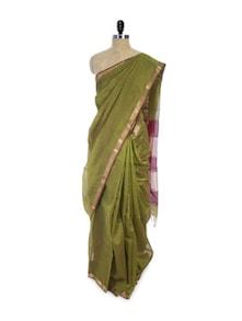 Splendid Cotton Silk Saree In Green - Spatika Sarees