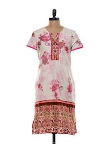 Printed Pink Cotton Kurti - Zara Deals