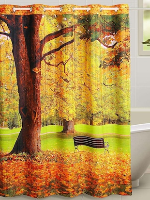 green park view print curtain set -  online shopping for shower curtains