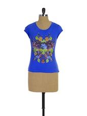 Quirky Bright Blue Printed T-shirt - Trendy Girlz