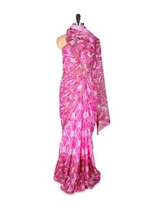 Pink Plush Printed Georgette Saree - Fabdeal