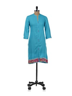 Aqua Blue Button Down Kurta - W