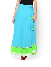 Blue And Lime Green Poly Georgette Skirt - NAVYOU