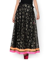 Floral Printed Black Poly Net Skirt - NAVYOU