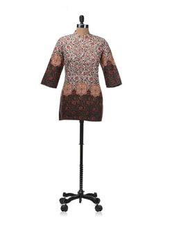 Mandarin Neck Printed Top - W