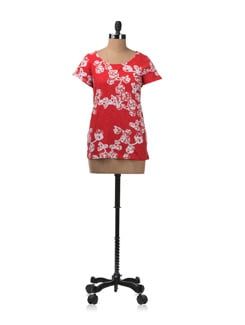Bright Red Printed Top - W