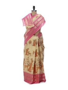 Beige Tant Cotton Bengal Handloom Saree - Aadrika Saree