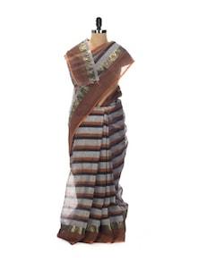 Grey And Brown Tant Cotton Bengal Handloom Saree - Aadrika Saree